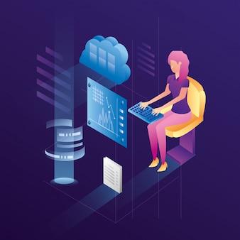 Femme d'affaires avec des icônes de réseau de centre de données