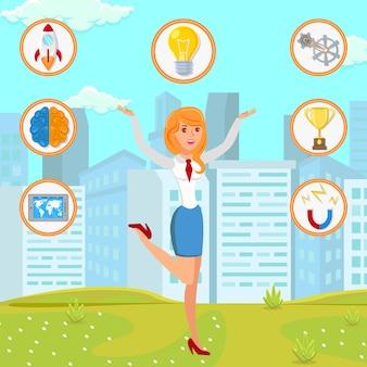 Femme d'affaires avec illustration de démarrage idée plate