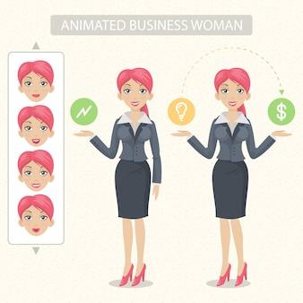 La femme d'affaires d'illustration est prête à l'animation tête mains pieds sont divisés