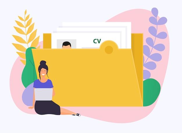Femme d'affaires avec une illustration d'ordinateur portable
