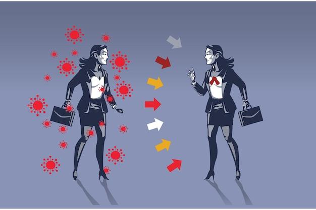 Femme d'affaires infectée par le virus covid 19 met en danger son concept d'illustration de collègue.