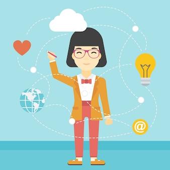 Femme d'affaires et informatique en nuage.