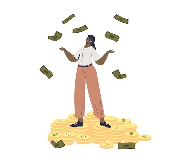 Femme d'affaires jetant de l'argent
