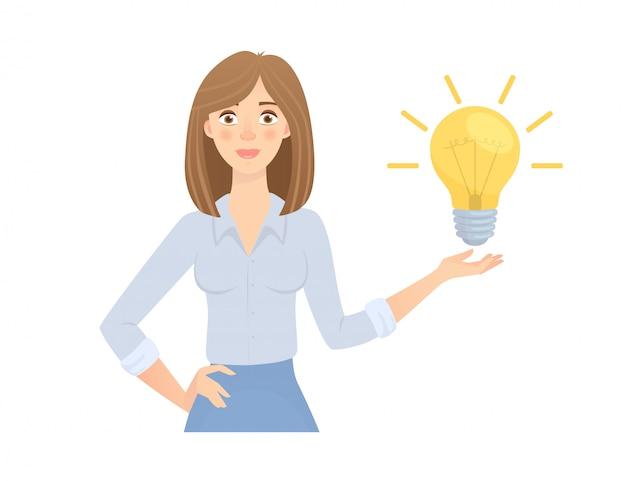 Femme affaires, à, lampe