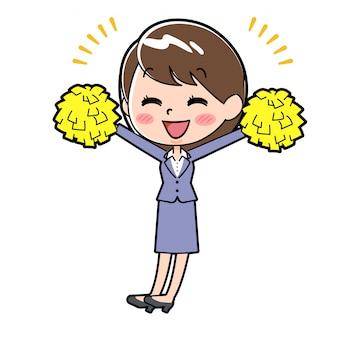 Femme d'affaires en ligne cheer hands up