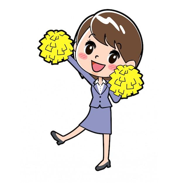 Femme d'affaires en ligne cheer jump