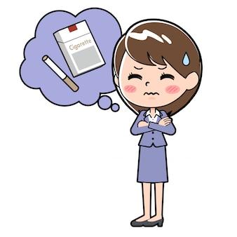 Femme d'affaires en ligne non-fumeur