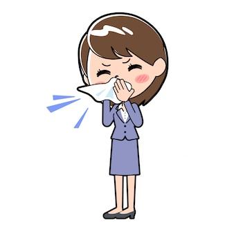 Femme d'affaires en ligne pique nasale