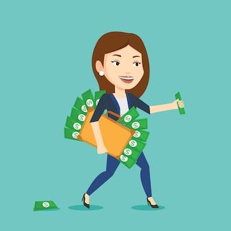 Femme d'affaires avec mallette pleine d'argent.