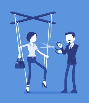 Femme d'affaires marionnette libre de l'esclavage. libération de la femme, la fille a obtenu des droits personnels après influence et contrôle, homme coupant des ficelles de poupée avec des ciseaux. illustration vectorielle, personnages sans visage