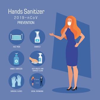 Femme affaires, masque, mains, désinfectant, prévention, conseils