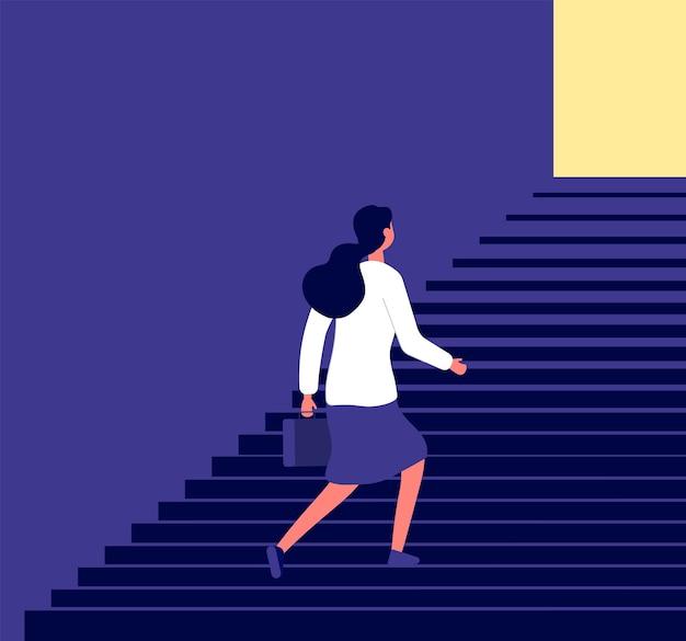 Femme affaires, monter, escalier