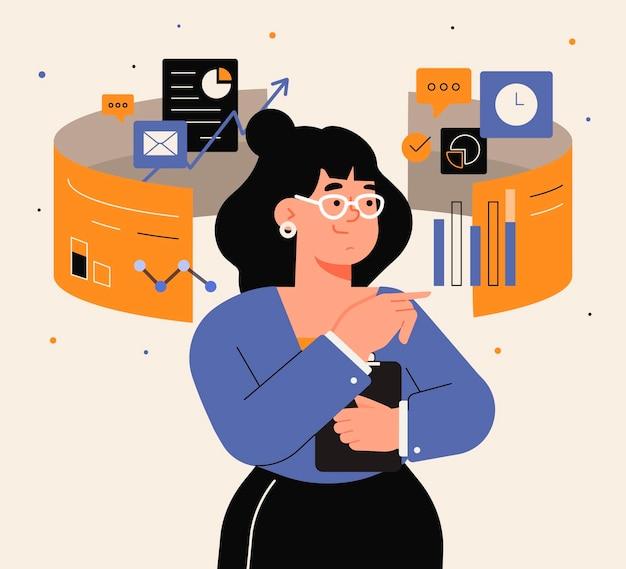 Femme d'affaires multitâche design plat
