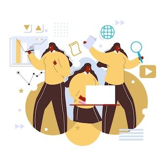 Femme d'affaires multitâche dessiné à la main