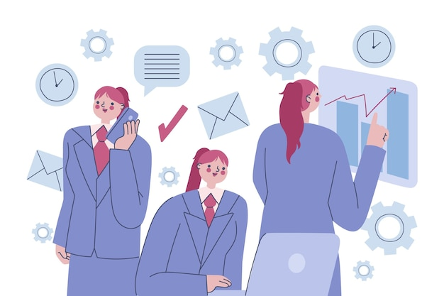 Femme d'affaires multitâche illustrée