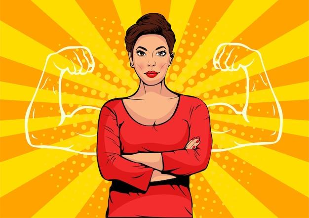 Femme d'affaires avec des muscles pop art style rétro
