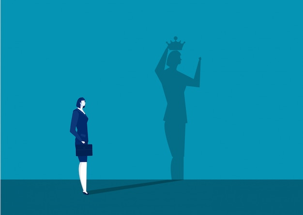 Femme d'affaires obtient la couronne avec son ombre