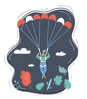 Femme d'affaires avec parachute dans le ciel