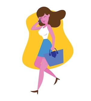 Femme d'affaires parler sur téléphone portable en vecteur de style plat