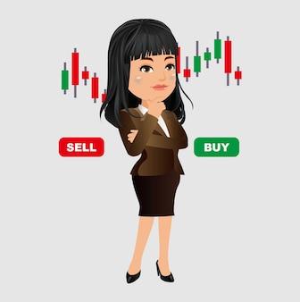 Femme d'affaires pensant et analysant le graphique boursier