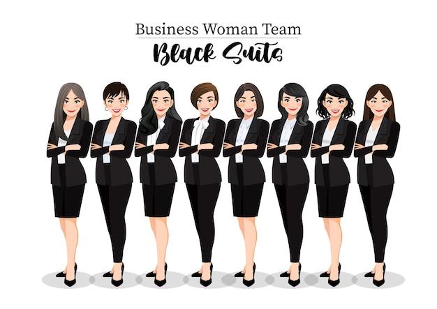 Femme d'affaires ou personnage féminin bras croisés posent dans l'illustration de costume noir.