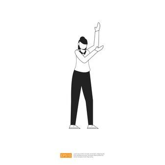 Femme d'affaires ou personnage de jeune femme pose avec un geste de la main dans un style plat isolé illustration vectorielle