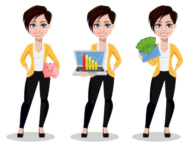 Femme d'affaires, pigiste, banquier, ensemble de trois poses