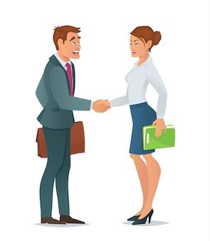 Femme d'affaires de poignée de main et homme d'affaires