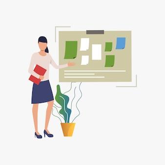Femme d'affaires pointant au tableau d'affichage avec des notes