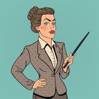 Femme d'affaires de pop art avec bâton de pointeur.
