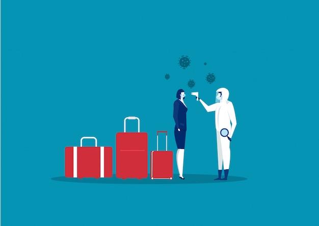 Femme affaires, porter, masque respiratoire, protéger, contre, 2019-ncov, chine, pathogène, respiratoire, coronavirus, sras, pandémie, à, aéroport