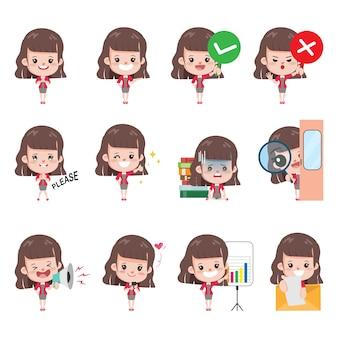 Femme d'affaires pose définie dans le caractère de bureau d'occupation de l'emploi. conception d'élément de personnes de caractère autocollant.
