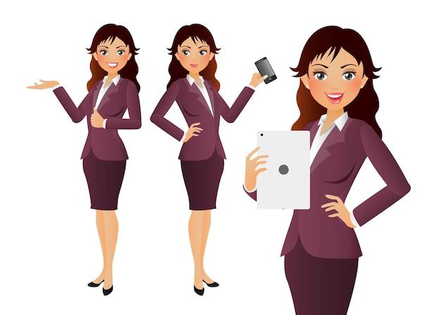 Femme d'affaires avec des poses différentes