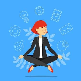 Femme d'affaires en posture de lotus méditant.