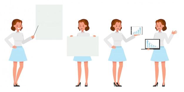 Femme affaires, projection, différent, gestes, caractère