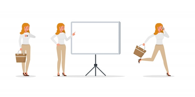 Femme affaires, projection, différent, gestes