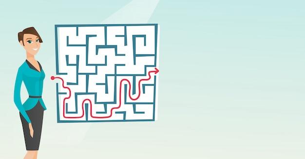 Femme affaires, regarder, labyrinthe, à, solution