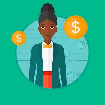 Femme d'affaires réussie avec la pièce d'un dollar.