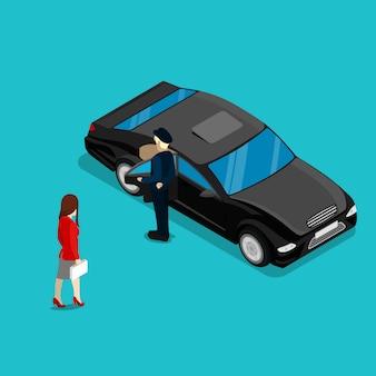Femme d'affaires réussie près de la voiture de luxe. les gens isométriques. illustration vectorielle