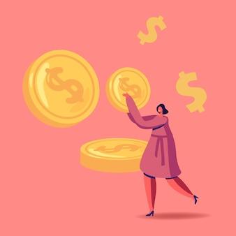 Femme d'affaires réussie transporte une énorme pièce d'or, personnage avec de l'argent comptant.