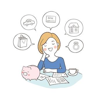 Femme d'affaires rêve de planifier sa situation financière