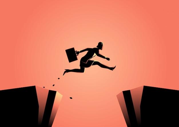 Femme d'affaires saute par-dessus le ravin