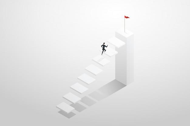 Femme d'affaires se précipitant dans les escaliers pour atteindre l'objectif cible et le succès.