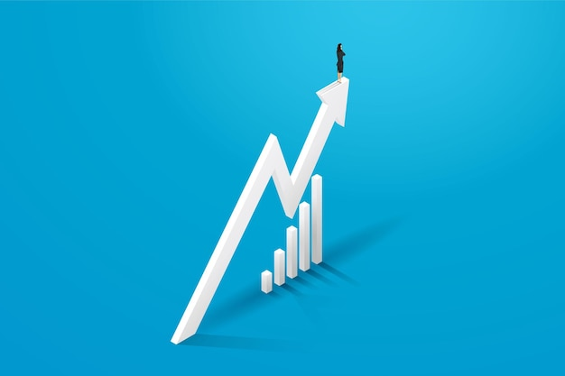 Femme d'affaires se tenir sur la flèche du graphique et progresser la croissance illustration du concept d'entreprise
