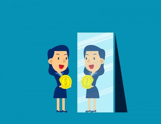 Femme d'affaires avec le signe dollar en miroir