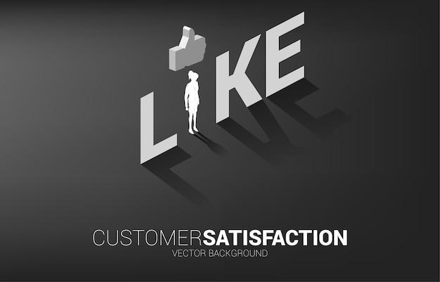 Femme d'affaires silhouette debout avec icône pouce vers le haut 3d dans un libellé similaire. concept de satisfaction client, notation client et classement.