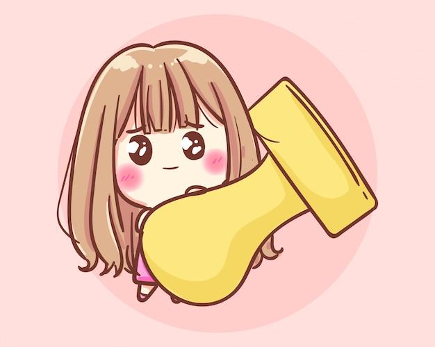 Femme d'affaires souriante tenant un tampon en caoutchouc. illustration d'art de dessin animé vecteur premium
