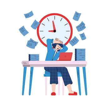 Femme d'affaires stressée et occupée, illustration de dessin animé de croquis