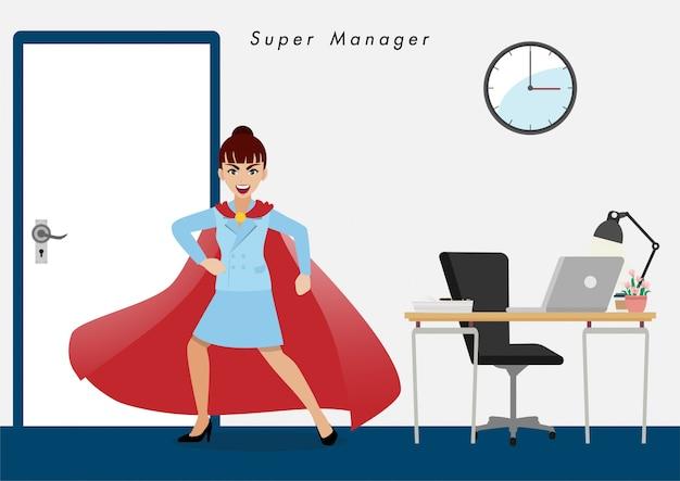 Femme d'affaires en super-héros. isoler le personnage de dessin animé de gens d'affaires à plat