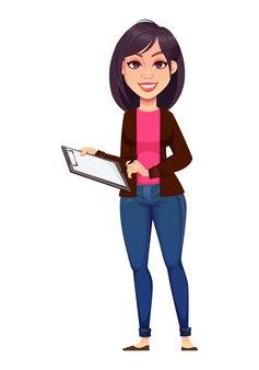 Femme affaires, tenue, presse-papiers